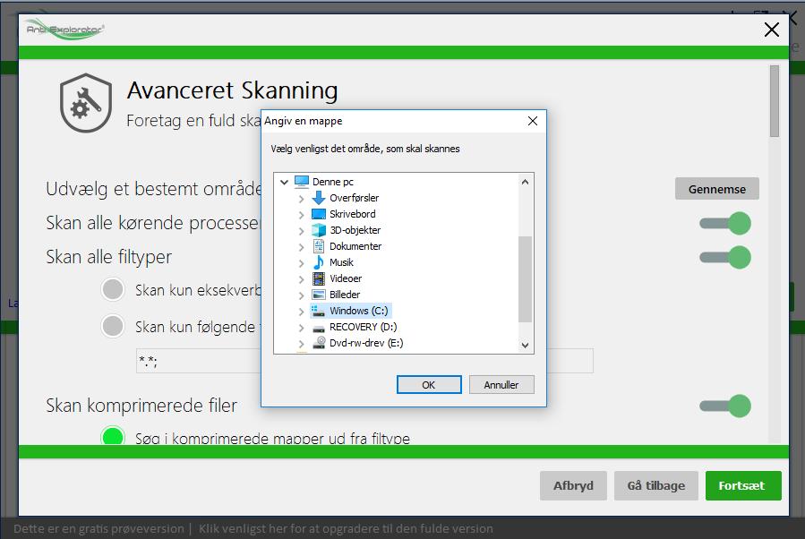 Foretag en avanceret scanning med Anti Explorator