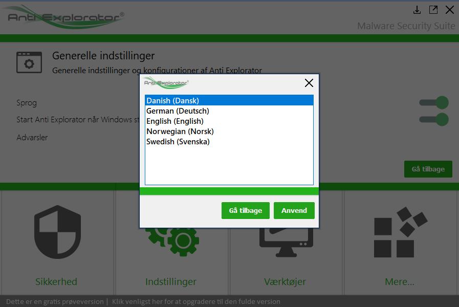 Anti Explorator er selvfølgelig på dansk, men også på svensk, norsk, tysk og engelsk, hvis du måtte ønske programmet i det sprog.